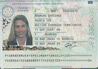 British passport (Bermuda) - The data page of a Bermudian passport.