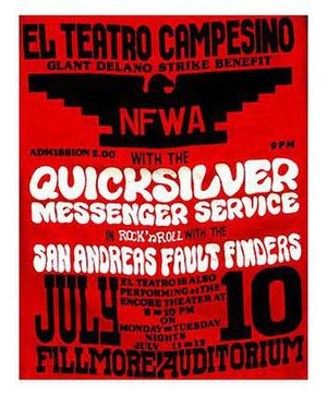 Teatro Campesino - Poster for Teatro Campesino performing at a strike benefit with Quicksilver Messenger Service July 1966 at the Fillmore Auditorium, San Francisco.