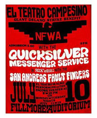 El Teatro Campesino - Poster for Teatro Campesino performing at a strike benefit with Quicksilver Messenger Service; July 1966 at The Fillmore, San Francisco.