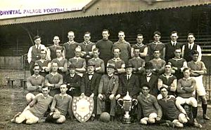 London Challenge Cup - Crystal Palace team of 1921 with the London Challenge Cup (trophy at right)