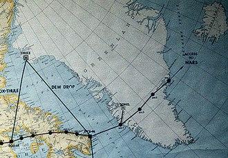 Dye 3 - Map of Distant Early Warning (DEW) Line Stations in Greenland, west to east: Dye 1, Dye 2, Dye 3, and Dye 4.