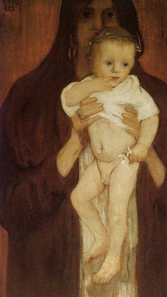 Elena Luksch-Makowsky, Ver Sacrum (Self-portrait with her son Peter), 1901