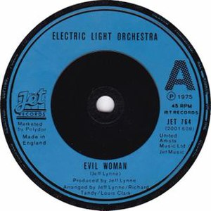 Evil Woman (Electric Light Orchestra song) - A-side label of the UK vinyl release
