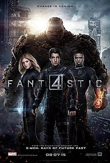The Four standing in front of the viewer, with the film's title toward them and release date below them with a destroyed city behind them.