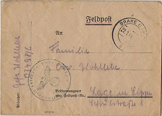 Feldpost - 1944 German Feldpost cover with battalion code number 03498/L