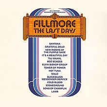 "A theater marquee that says ""Fillmore: The Last Days"", with a list of bands beneath it"