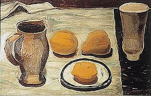 William George Gillies - Two Pots, Saucer and Fruit, 1933, Royal Scottish Academy.