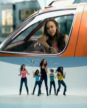 Happiness (Alexis Jordan song) - Two frames showing Jordan in the backseat of her orange car (upper) and at a swimming pool with four back-up dancers (lower)