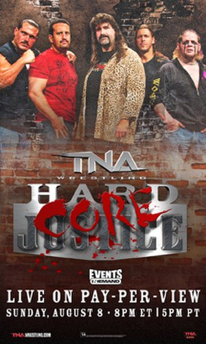 Hardcore Justice (2010) - Promotional poster featuring ECW alumni from left to right: Rhino, Tommy Dreamer, Mick Foley, Stevie Richards and Raven
