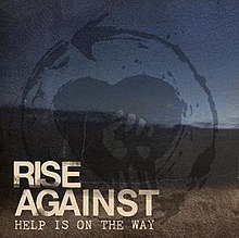 "A faded drawing of a fist in front of a heart. In the lower left corner, the text ""RISE AGAINST"" is displayed, with ""HELP IS ON THE WAY"" underneath in smaller text"