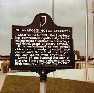1975 Indianapolis 500 - The Speedway was placed on the National Register of Historic Places