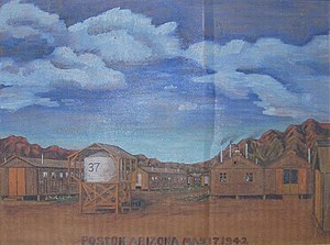 "Arizona during World War II - A painting of the Poston War Relocation Center by Tom Tanaka, who was interned there. It was painted on a piece of a cardboard box and says ""Poston Arizona May 17, 1942."""