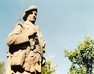 Alexander Carrick - The Killin war memorial.  Carrick's soldier bears some resemblance to Michelangelo's David, but while Michelangelo's figure grasps a primitive sling, Carrick's grasps the sling of a rifle.