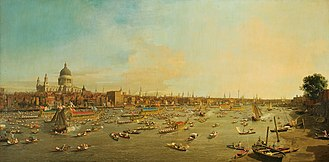Canaletto - The River Thames With St. Paul's Cathedral On Lord Mayor's Day , painted 1746. Lobkowicz Collections, Prague