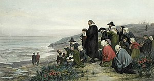 Richard Josey - Departure of the Mayflower (from Delft, The Netherlands) Engraved by Richard Josey after a picture by Alfred Walter Bayes