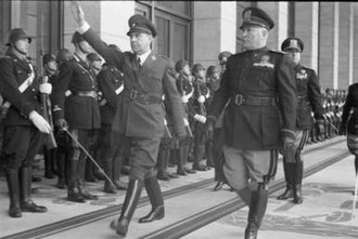 Independent State of Croatia - Poglavnik Ante Pavelic (left) with Italy's Duce Benito Mussolini (right) in Rome, Italy on 18 May 1941, during the ceremony of Italy's recognition of Croatia as a sovereign state under official Italian protection, and to agree upon Croatia's borders with Italy.
