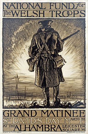Modern history of Wales - World War I poster for a fundraising event in support of Welsh troops. Lithograph designed by Frank Brangwyn in 1915.