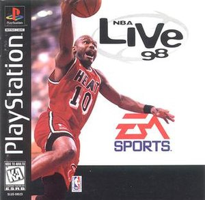 NBA Live 98 - PlayStation Cover art featuring Tim Hardaway playing for the Miami Heat