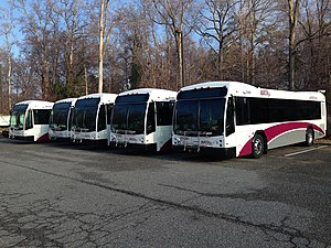 Williamsburg Area Transit Authority - WATA's Gillig Low Floor BRT buses. Note the new paint scheme, logo, and the addition of web site to the side of the buses.
