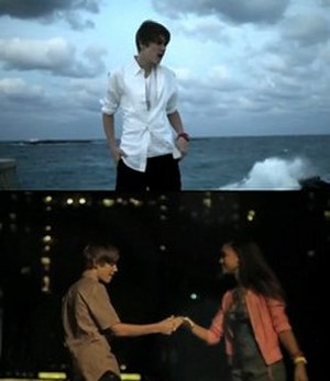 Never Let You Go (Justin Bieber song) - Bieber on the cliff in front of the ocean and in front of the Atlantis resort with love interest Paige Hurd.