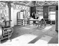 Ein Bild eines mit Bleistift gezeichneten Büros;  Das Büro verfügt über zwei Fenster, einen Schreibtisch, einen ovalen Computermonitor und zusätzliche Möbel.  Die Wände und Dekorationen der Möbel sind im Art-Deco-Stil gestaltet.