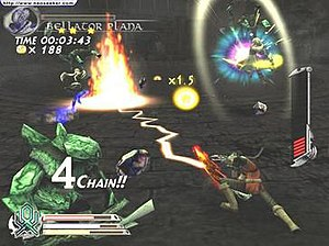 The Sword of Etheria - Fiel performing a Deathblow. A decreased tension gauge is shown on the right.