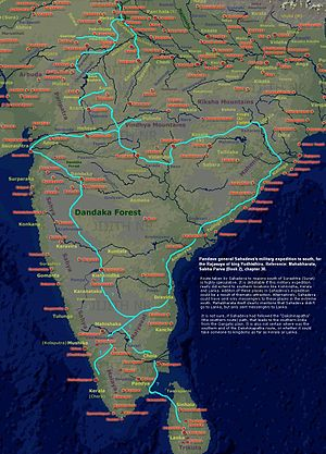 Sahadeva - Sahadeva's military expedition to the southern kingdoms, as per epic Mahabharata.