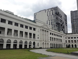 De La Salle University - St La Salle Hall in 2014 (with Henry Sy, Sr. Building)