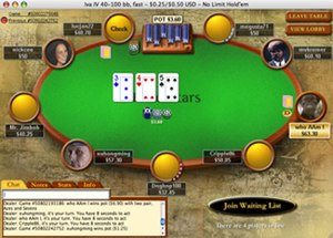 "PokerStars - Screenshot of the Pokerstars GUI (the ""classic"" theme) at a real money table"