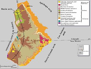 Raton Mesa - A geologic map of the Raton Basin.  The Raton mesas are shown in red.