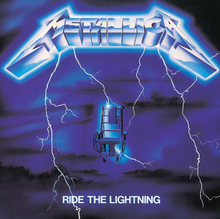 The artwork depicts an electric chair on a dark and ominous background being struck by lightning flowing from Metallicas pointed logo on top The title is written in smaller white capital letters at the bottom