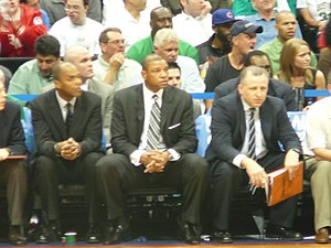 Tom Thibodeau - Thibodeau (right) as part of the Boston Celtics coaching staff