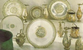 Sevso Treasure - The Sevso Treasure exhibited in 1990.