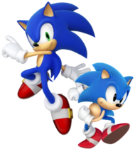 Two anthropomorphic, cartoon blue hedgehogs wearing red shoes. The one on the left is taller and slimmer, while the one on the right is shorter and portly.