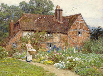 Cottage garden - Helen Allingham watercolor showing elite peonies and modern delphiniums in an idealised cottage garden.