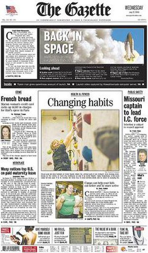 The Gazette (Cedar Rapids) - Image: The Gazette (Cedar Rapids) front page