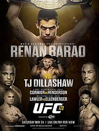 A poster or logo for UFC 173: Barão vs. Dillashaw.
