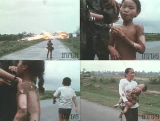 Phan Thi Kim Phuc - Thumbnails of the film footage showing the events just before and after the photograph was taken