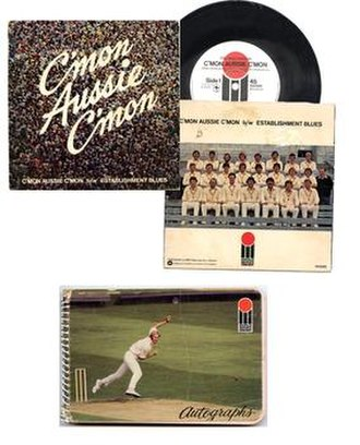 "World Series Cricket - Examples of World Series Cricket marketing.  The popular ""C'mon Aussie C'mon"" single, which reached the top of the charts, and a World Series Cricket autograph book"