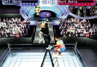 WWE 2K - A screenshot of a ladder match featuring Jeff Hardy and Kurt Angle in SmackDown! 2: Know Your Role