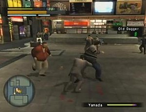 Yakuza (series) - Gameplay of Yakuza; in this fight Kazuma is wielding a dagger, with the top bars showing Kazuma's health and heat while the bottom's one show the enemy's health, and bottom left displays a map