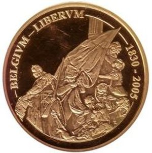 Euro gold and silver commemorative coins (Belgium) - Image: 2005 Belgium 100 Euro 175 Years Belgium front