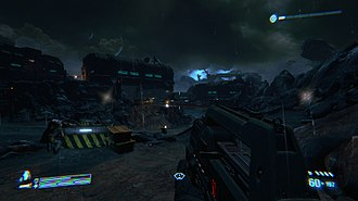 Aliens: Colonial Marines - The player holding the pulse rifle in one mission. The health bar is displayed at the bottom left corner, while ammunition is shown at the bottom right corner.