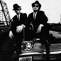 Aykroyd (left) with John Belushi in The Blues Brothers, 1980
