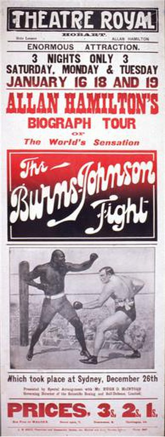 The Burns-Johnson Fight - Poster from film for Hobart screening