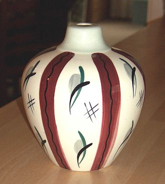 Jessie Tait - A Clayburn lampbase painted with a version of Tait's 'Fiesta' design