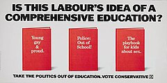 "Tagline ""Is this Labour's idea of a comprehensive education?"" above an image of three books with the titles ""Young, Gay and Proud"", ""Police: Out of School!"" and ""The playbook for kids about sex"""