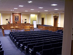 Cumberland School of Law's Cordell Hull Moot Court Room - Portrait at head of room