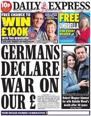 Front page of the Daily Express, one of Northe...