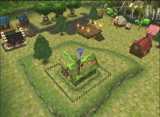 Dark Chronicle - Georama mode in Dark Chronicle. Here, the player places a house on a previously placed hill in Sindain.